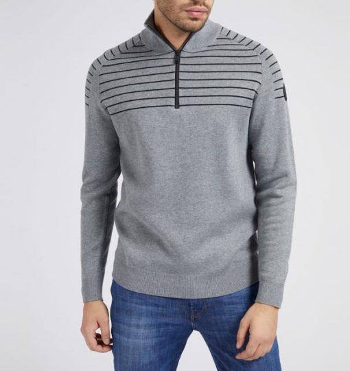 GUESS maglia uomo grigia con mezza zip