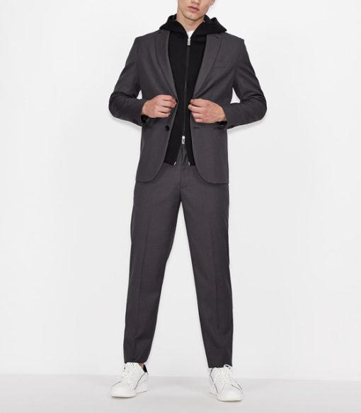 ARMANI EXCHANGE pantalone micro-quadretto da uomo-1