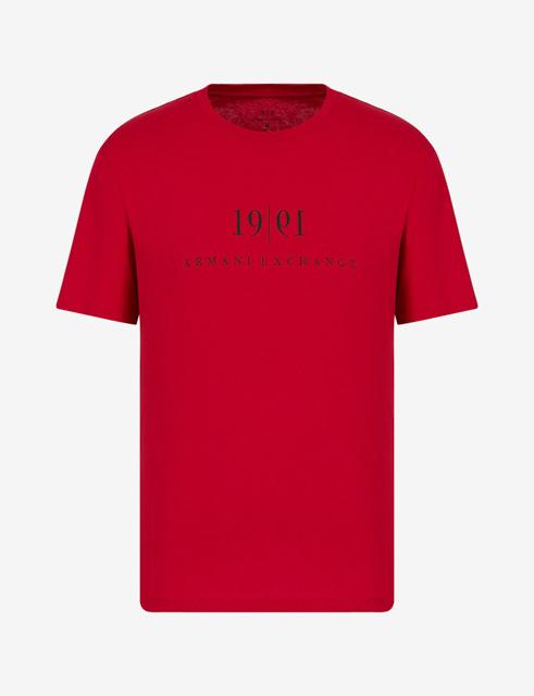 Maglietta tinta unita con scritta ARMANI EXCHANGE da uomo-3