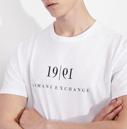 Maglietta tinta unita con scritta ARMANI EXCHANGE da uomo-2