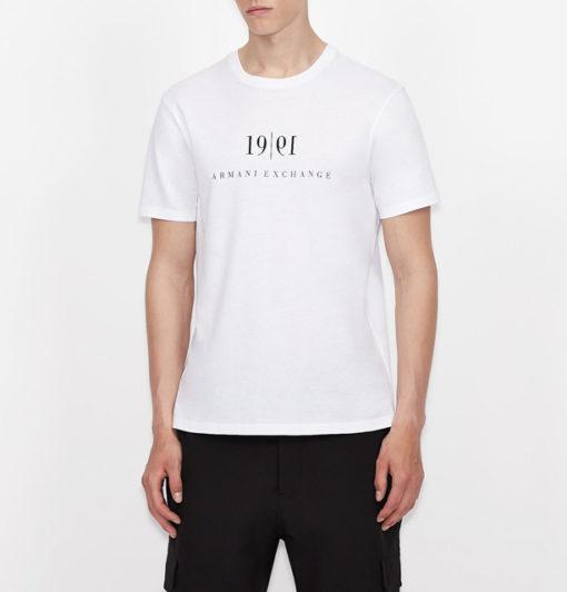Maglietta tinta unita con scritta ARMANI EXCHANGE da uomo-1