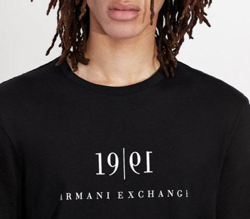 Maglietta tinta unita con scritta ARMANI EXCHANGE da uomo-10