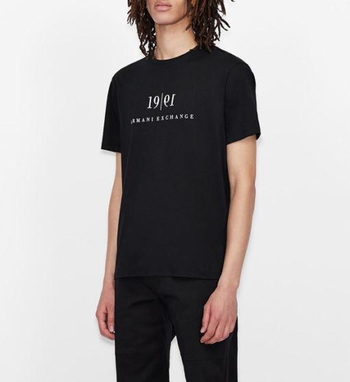 Maglietta tinta unita con scritta ARMANI EXCHANGE da uomo-8