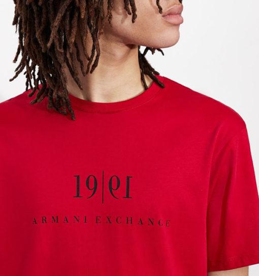Maglietta tinta unita con scritta ARMANI EXCHANGE da uomo-5